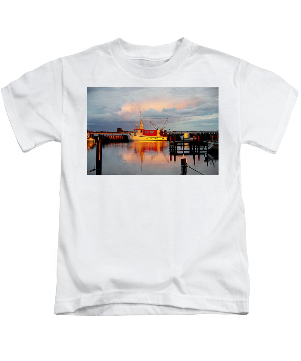 Red Fishing Boat Kids T-Shirt featuring the photograph The Red Fishing Boat by Karen McKenzie McAdoo