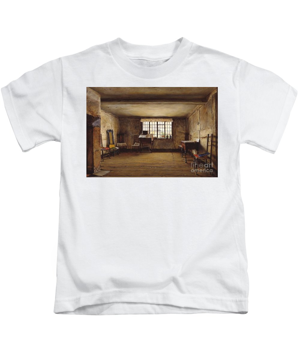 Henry Wallis - The Room In Which Shakespeare Was Born 1853 Kids T-Shirt featuring the painting The Room In Which Shakespeare Was Born by MotionAge Designs