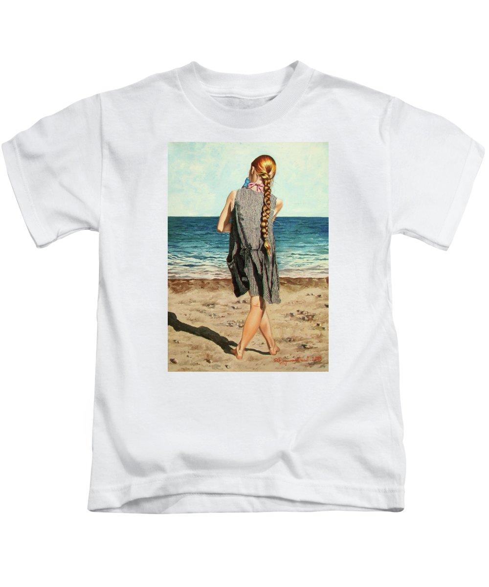 Sea Kids T-Shirt featuring the painting The Secret Beauty - La Belleza Secreta by Rezzan Erguvan-Onal