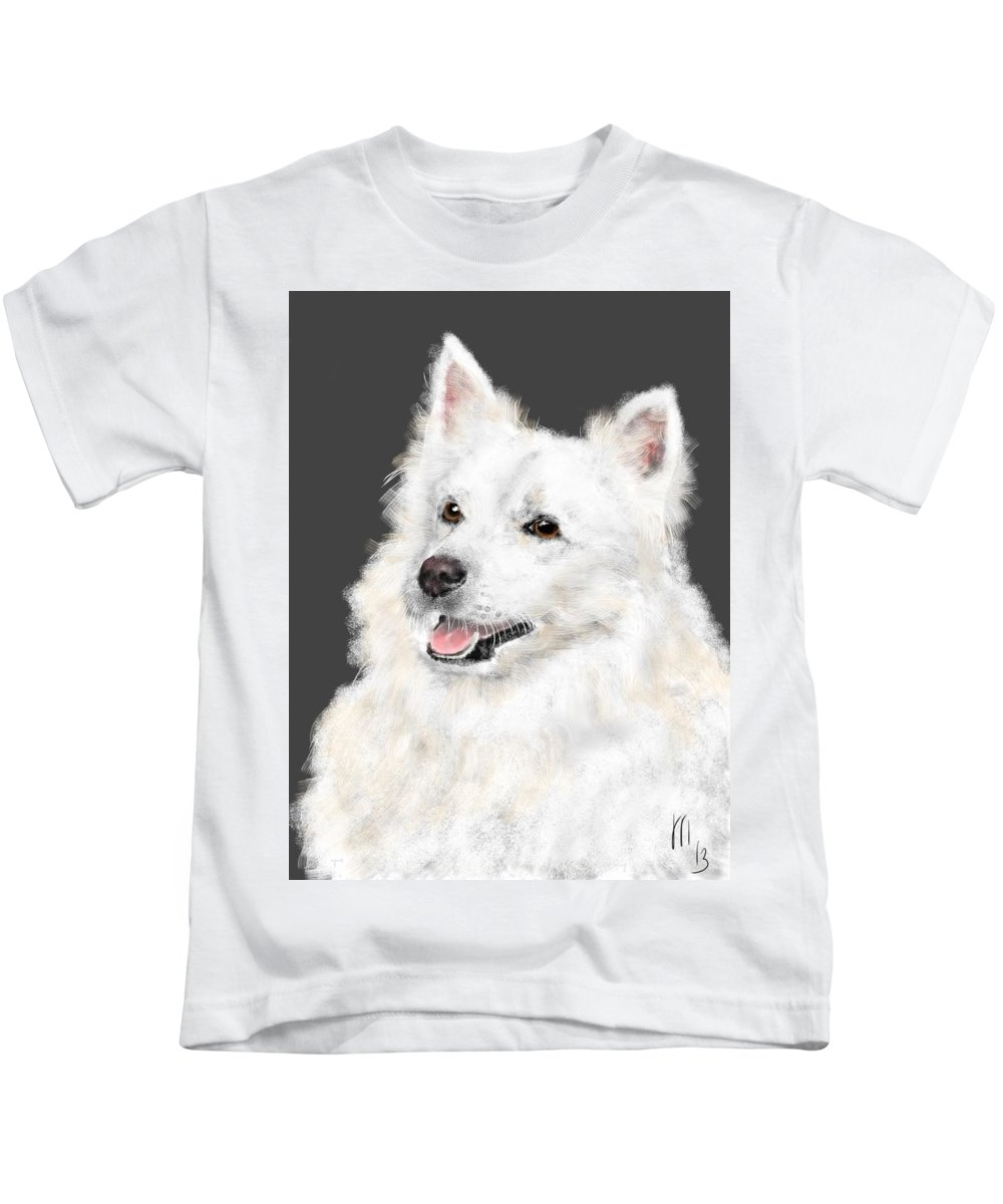 Animals Kids T-Shirt featuring the painting The Smiling Eskie by Lois Ivancin Tavaf