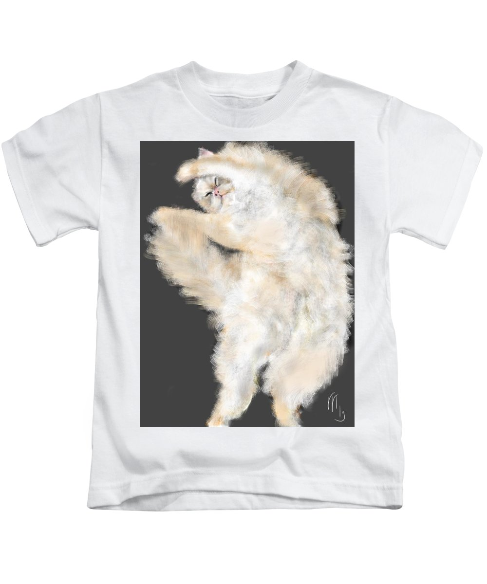 Cat Kids T-Shirt featuring the painting The Stretching Cat by Lois Ivancin Tavaf