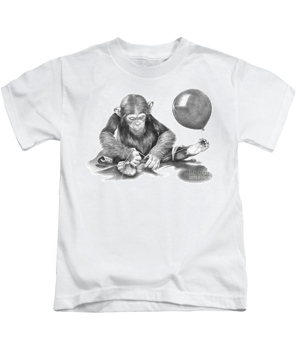 Pencil Kids T-Shirt featuring the drawing The String Theory by Murphy Elliott