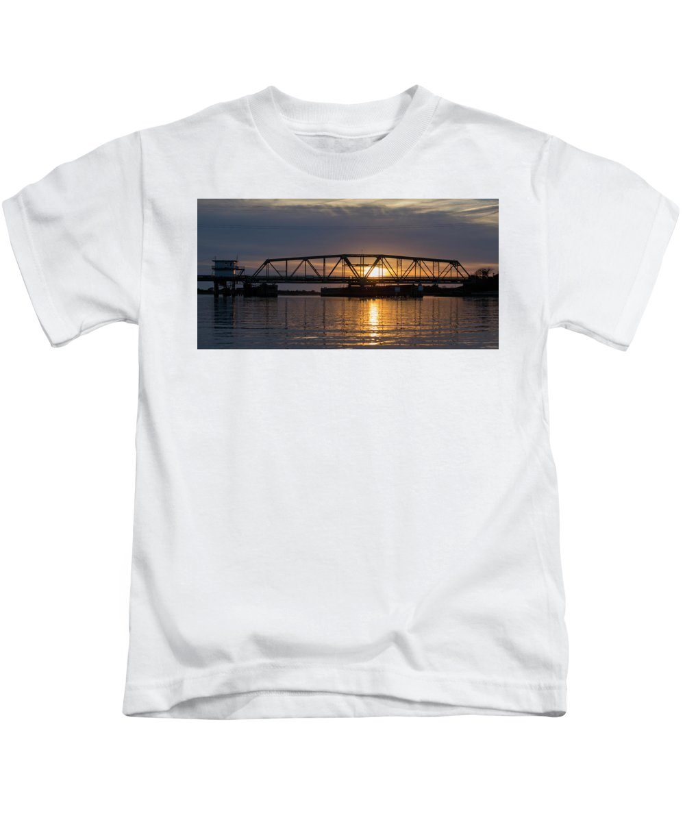 Topsail Kids T-Shirt featuring the photograph The Swing Bridge by Betsy Knapp