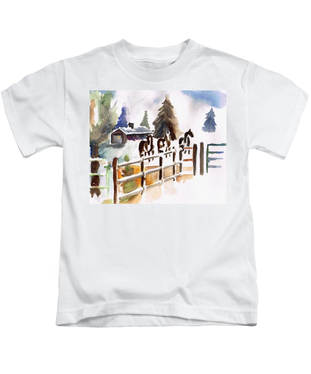 Horses Kids T-Shirt featuring the painting The Three Amigos by Frances Marino