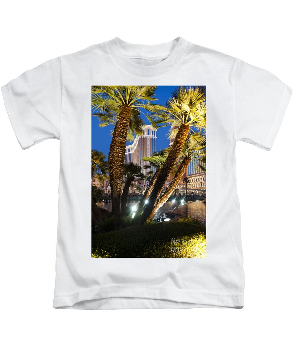 The Venetian Kids T-Shirt featuring the photograph The Venetian Hotel And Casino Las Vegas by Ken Howard