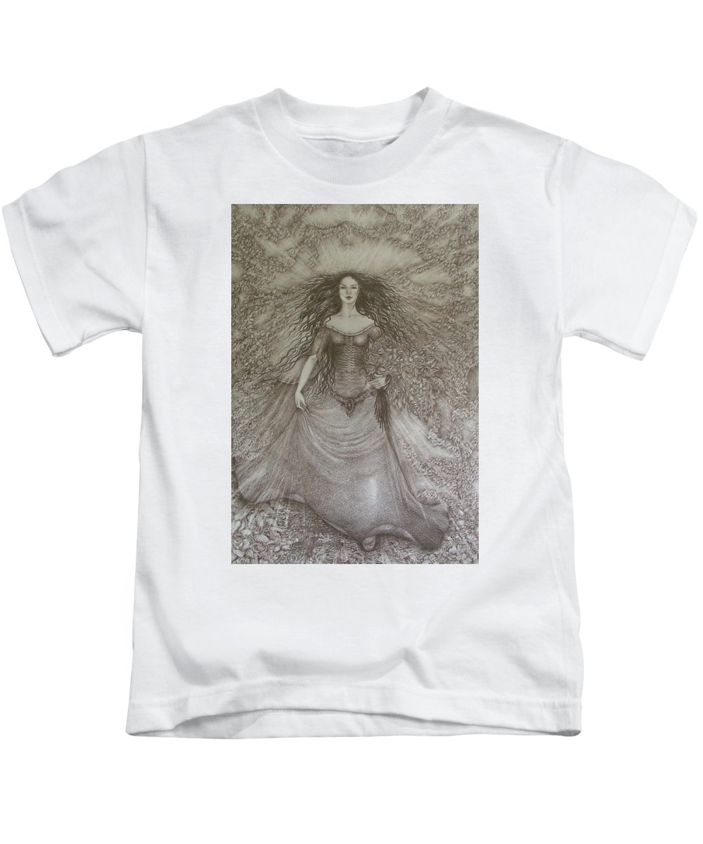 Spring Kids T-Shirt featuring the drawing Victory Of Spring by Rita Fetisov