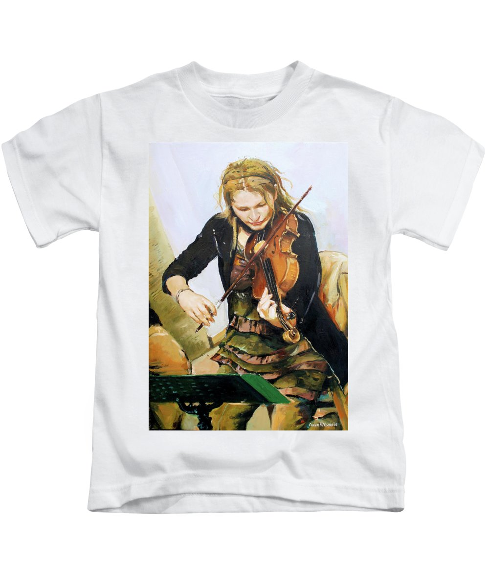 Girl Playing Violin Kids T-Shirt featuring the painting The Violinist by Conor McGuire
