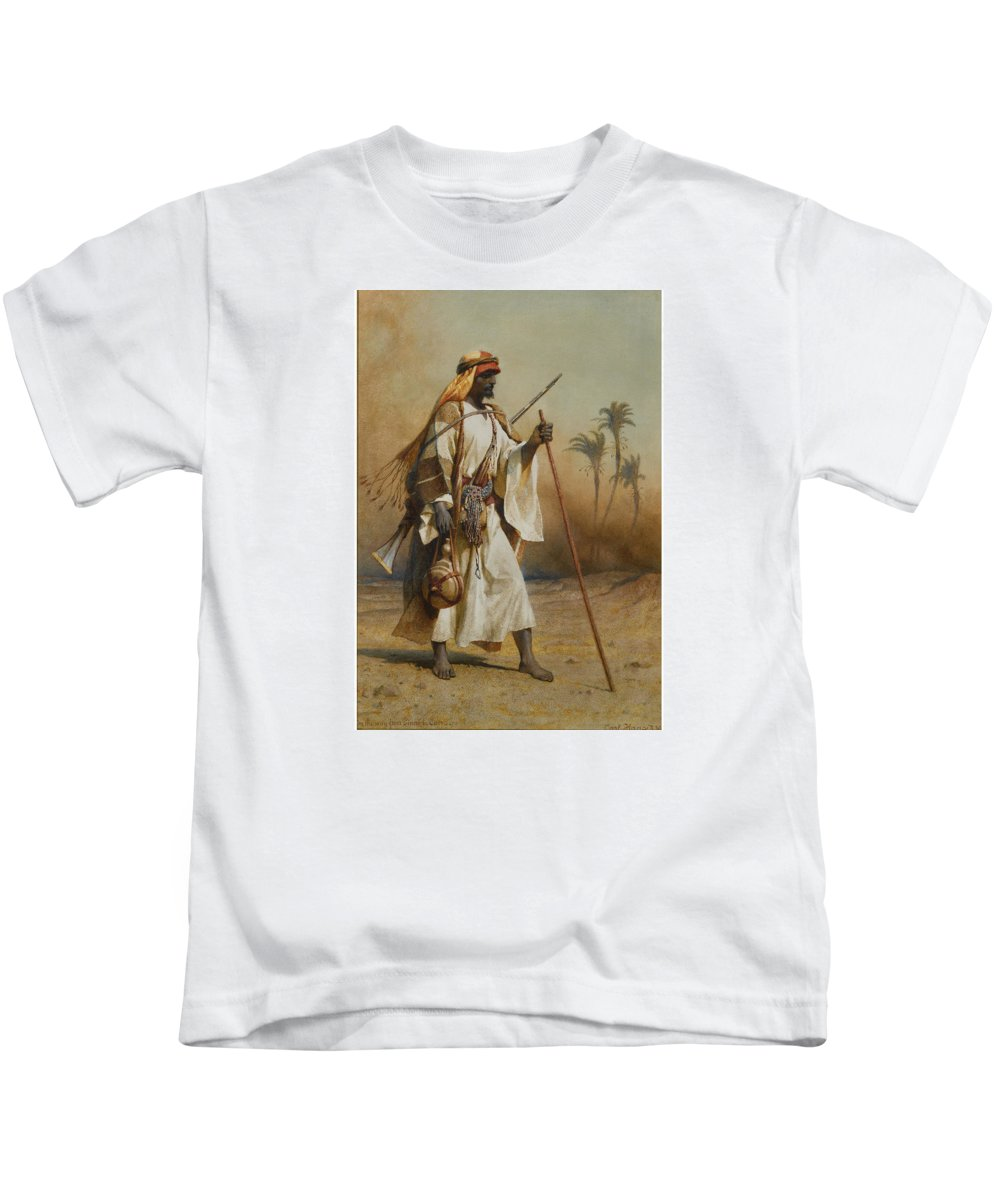 Carl Haag 1820 - 1915 On The Way From Sinai To Cairo Kids T-Shirt featuring the painting The Way From Sinai To Cairo by MotionAge Designs