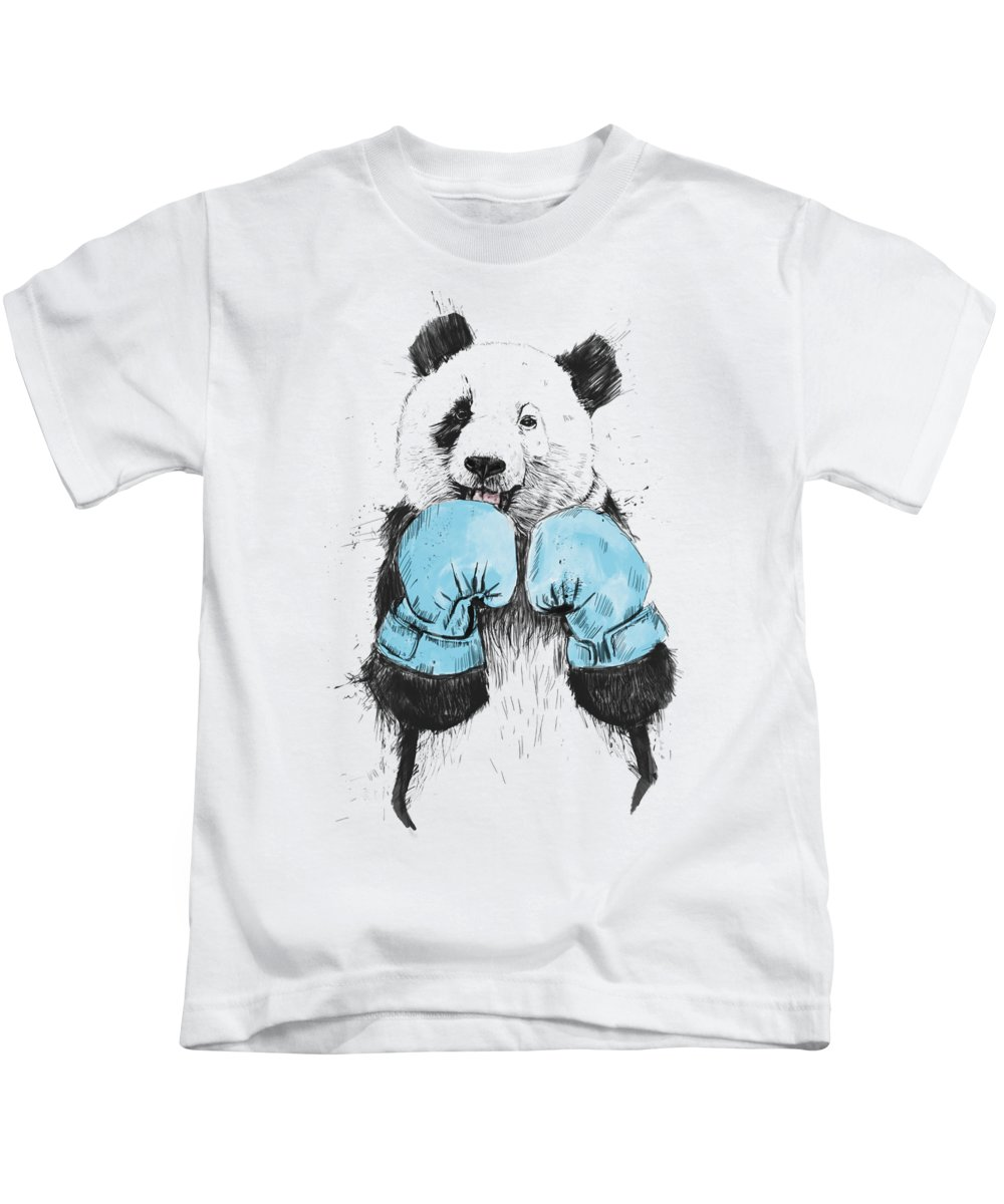 Panda Kids T-Shirt featuring the digital art The Winner by Balazs Solti