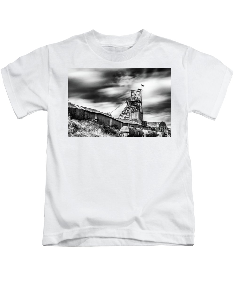Big Pit Colliery Kids T-Shirt featuring the photograph Thirty Seconds At Big Pit Mono by Steve Purnell