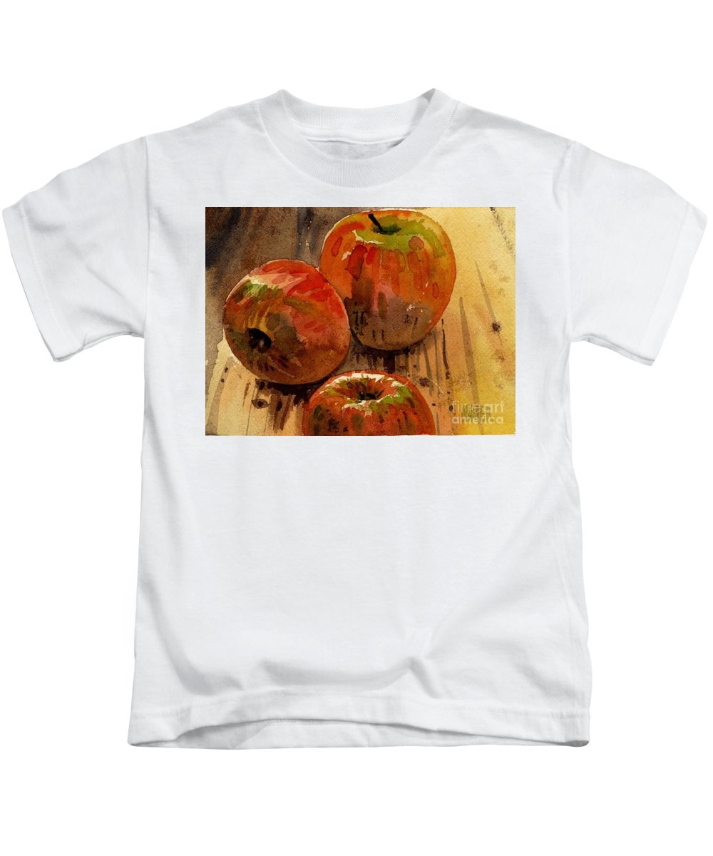 Apples Kids T-Shirt featuring the painting Three Apples by Donald Maier