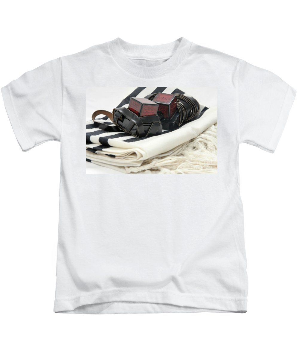 Religion Kids T-Shirt featuring the photograph Tifillin And Talit by Yedidya yos mizrachi