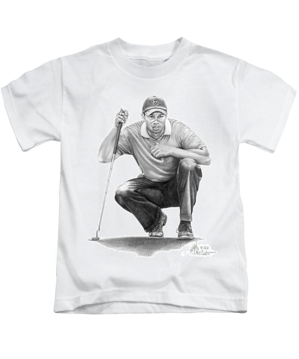 Pencil Kids T-Shirt featuring the drawing Tiger Woods Crouching Tiger by Murphy Elliott