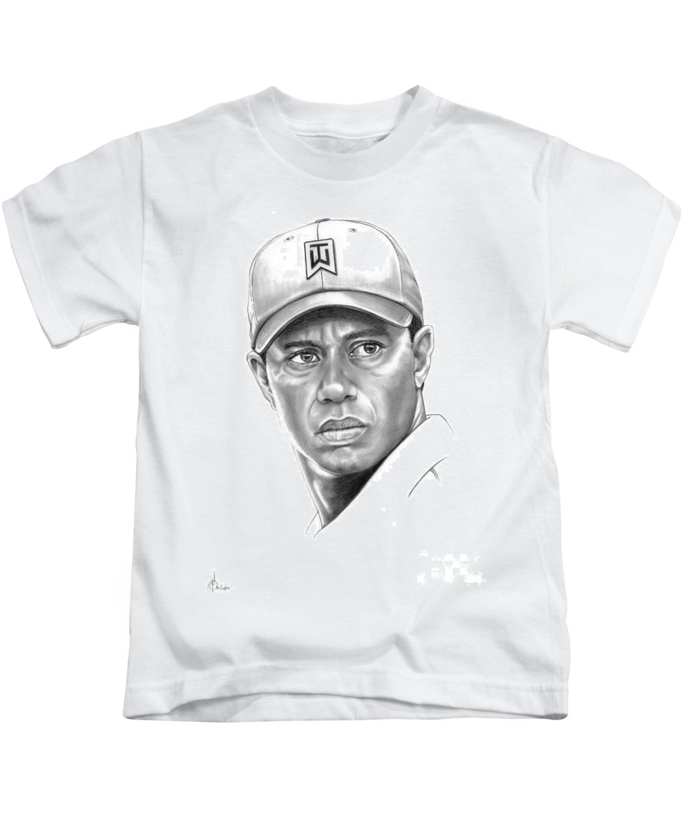 Tiger Woods Kids T-Shirt featuring the drawing Tiger Woods by Murphy Elliott