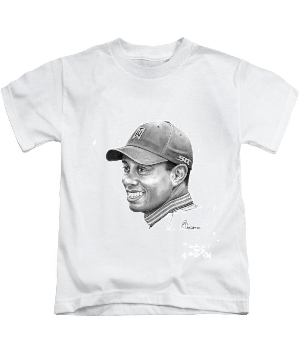 Tiger Woods Kids T-Shirt featuring the drawing Tiger Woods Smile by Murphy Elliott