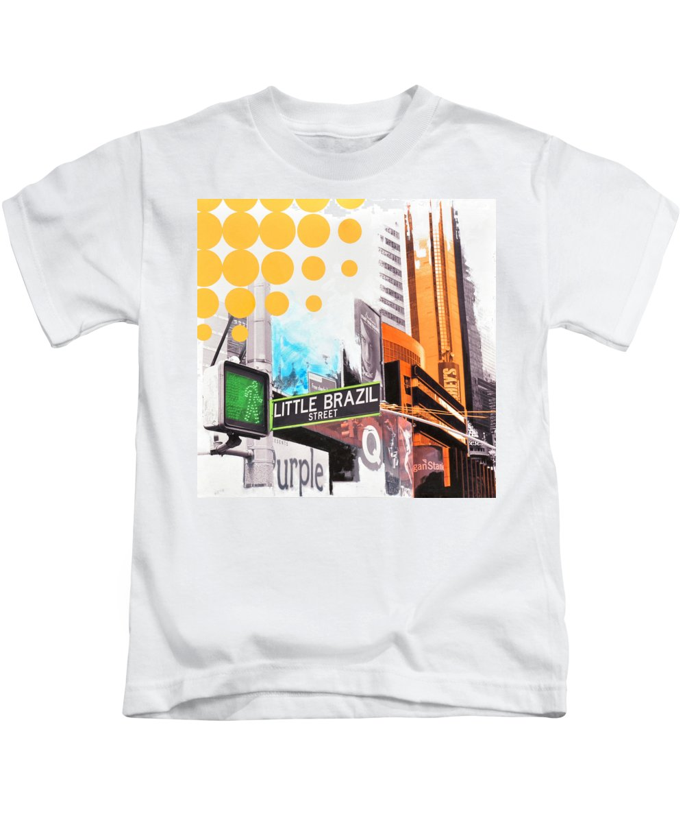 Ny Kids T-Shirt featuring the painting Times Square Little Brazil by Jean Pierre Rousselet
