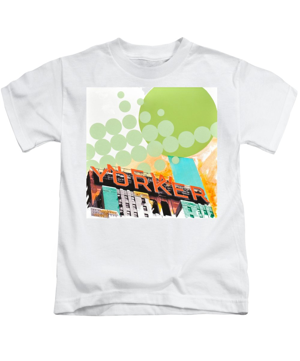 Ny Kids T-Shirt featuring the painting Times Square New Yorker by Jean Pierre Rousselet