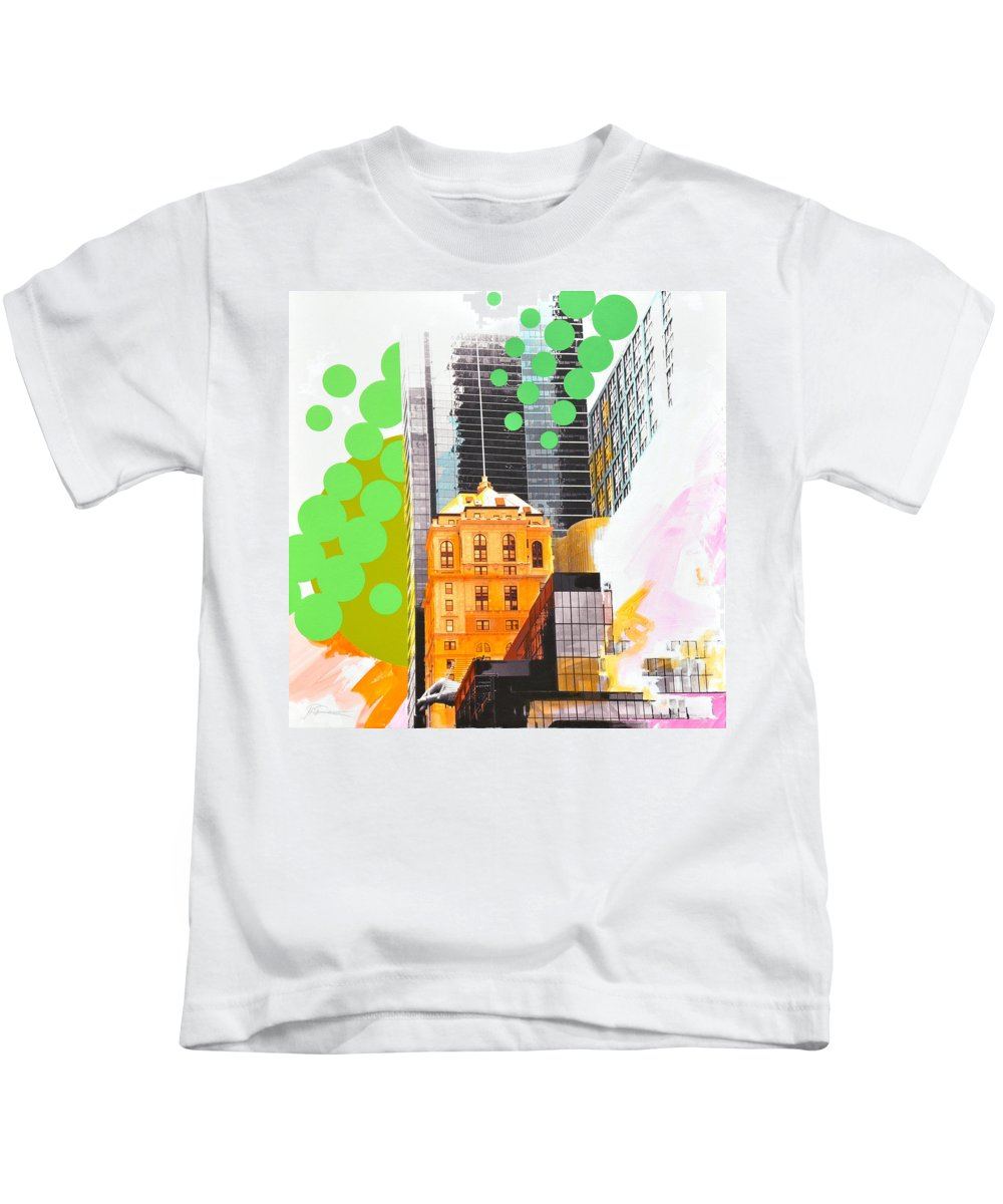 Ny Kids T-Shirt featuring the painting Times Square Ny Advertise by Jean Pierre Rousselet