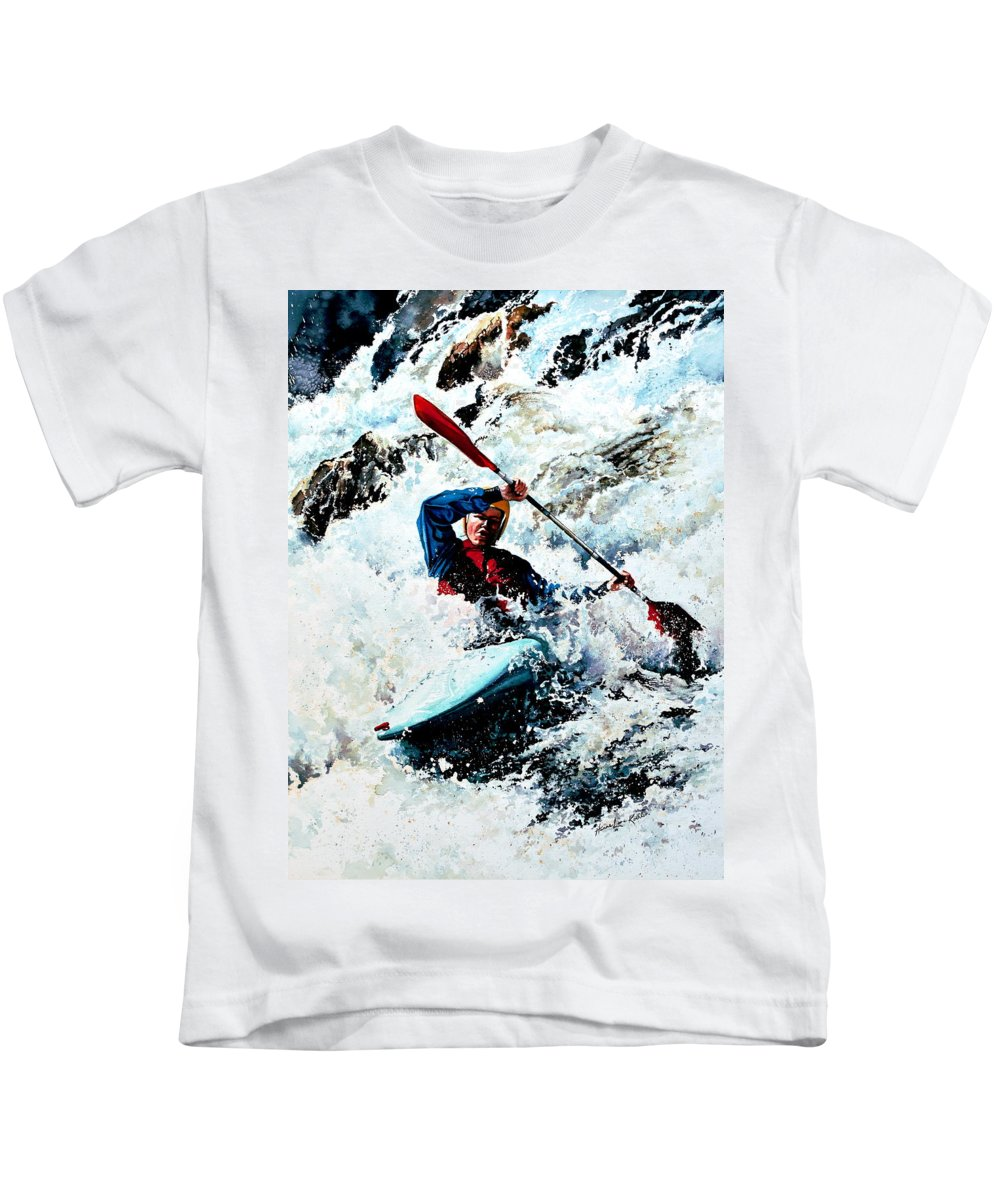 Sports Artist Kids T-Shirt featuring the painting To Conquer White Water by Hanne Lore Koehler