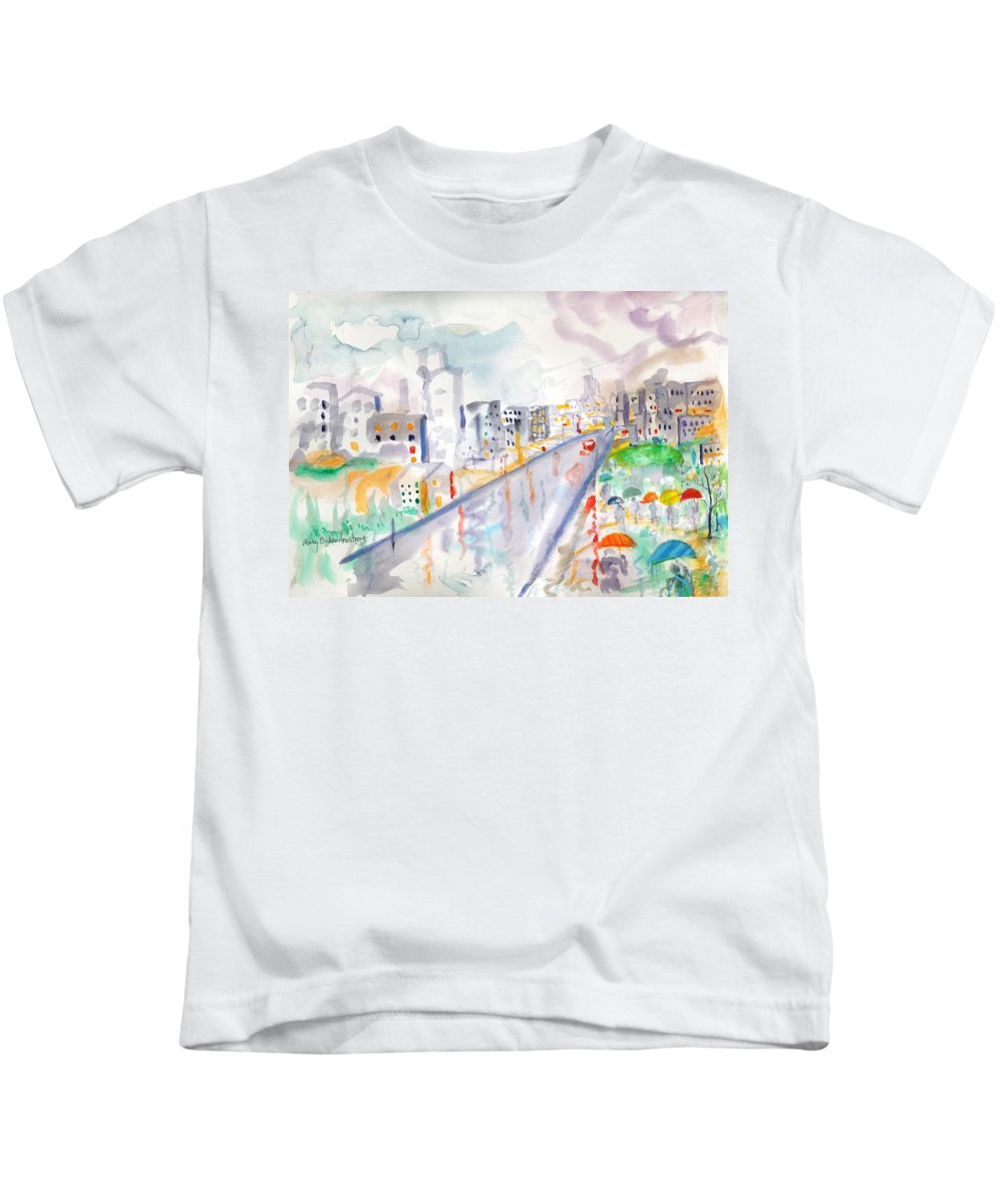 City Kids T-Shirt featuring the painting To The Wet City by Mary Armstrong