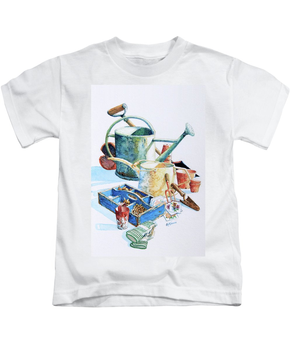 Garden Kids T-Shirt featuring the painting Todays Toil Tomorrows Pleasure IIi by Hanne Lore Koehler