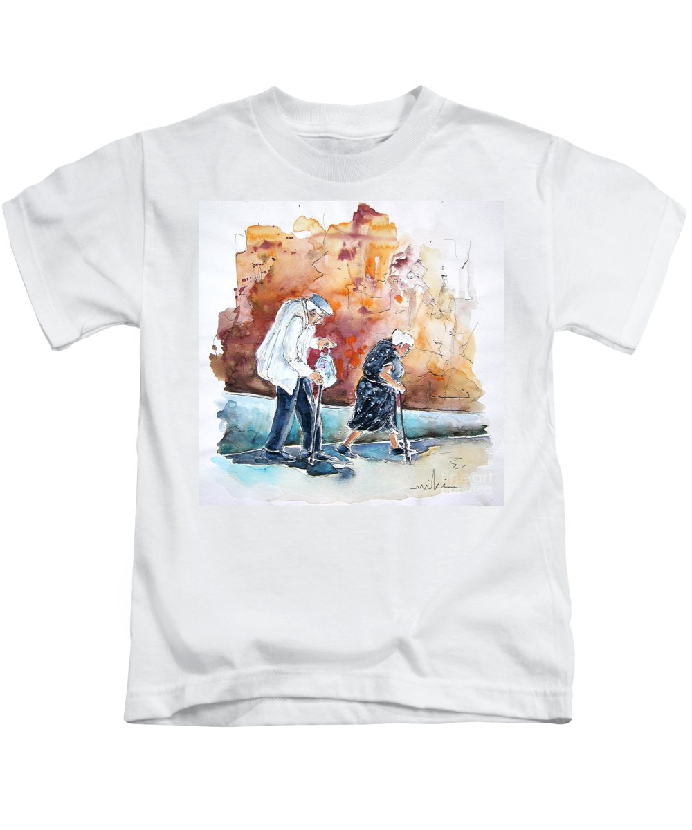 Portugal Paintings Kids T-Shirt featuring the painting Together Old In Portugal 01 by Miki De Goodaboom