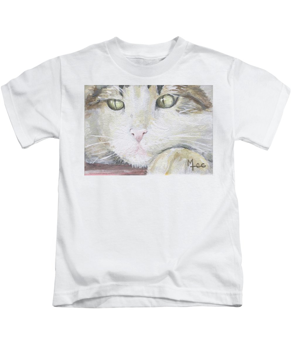 Charity Kids T-Shirt featuring the painting Tommy by Mary-Lee Sanders
