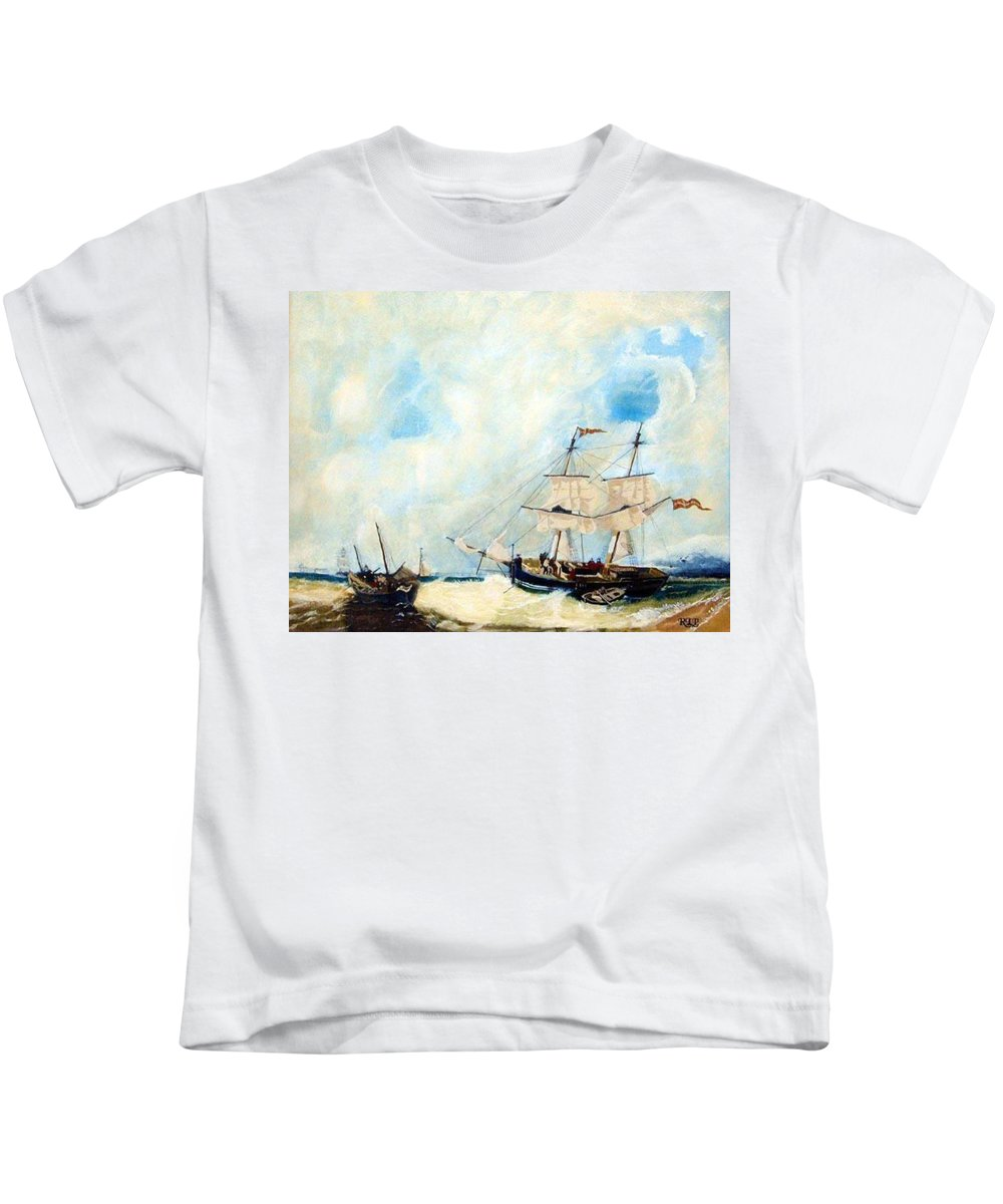 Sailing Kids T-Shirt featuring the painting Too Close To Shore by Richard Le Page
