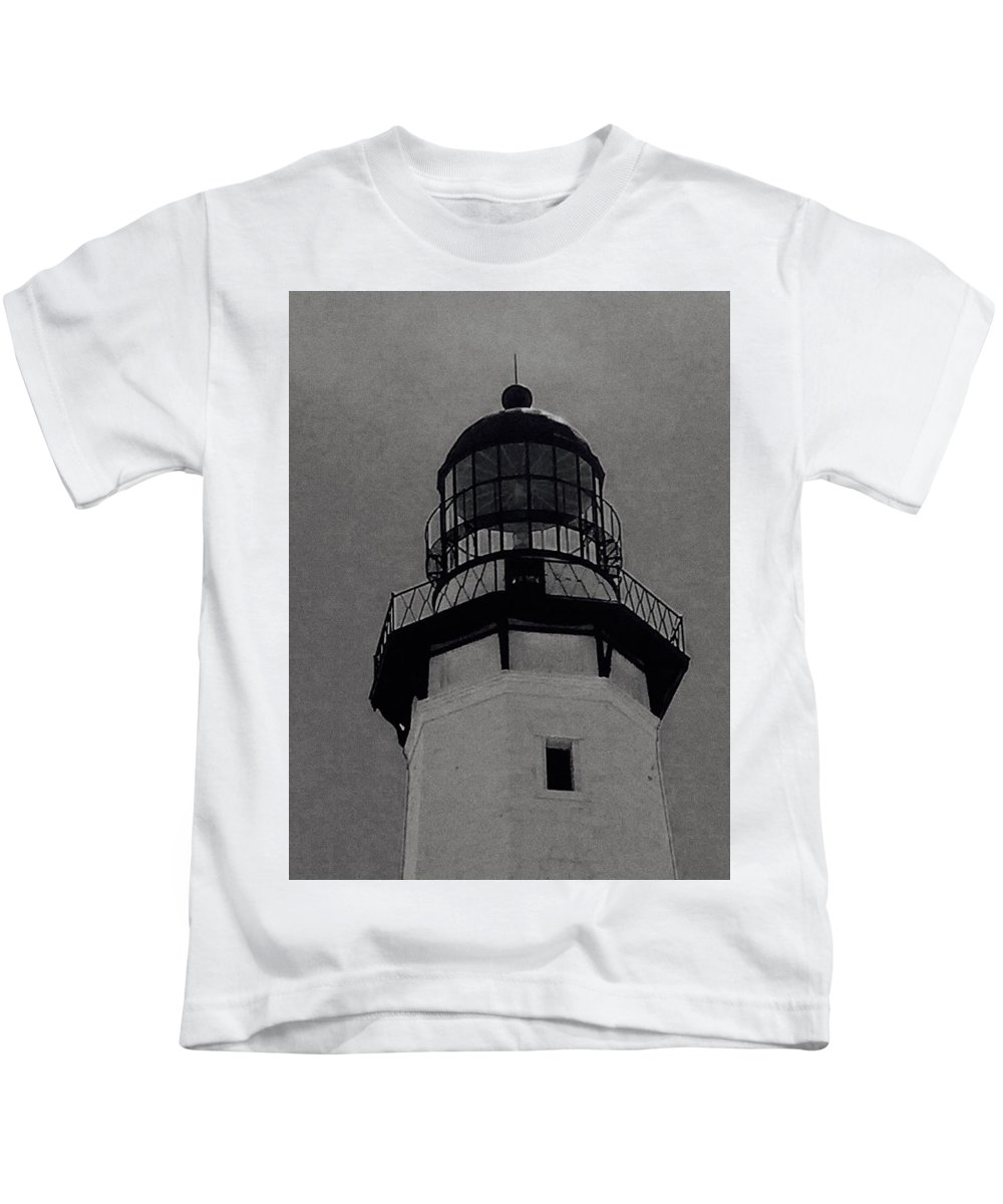 Photo Kids T-Shirt featuring the photograph Top Of The Lighthouse by David Martin Stevens