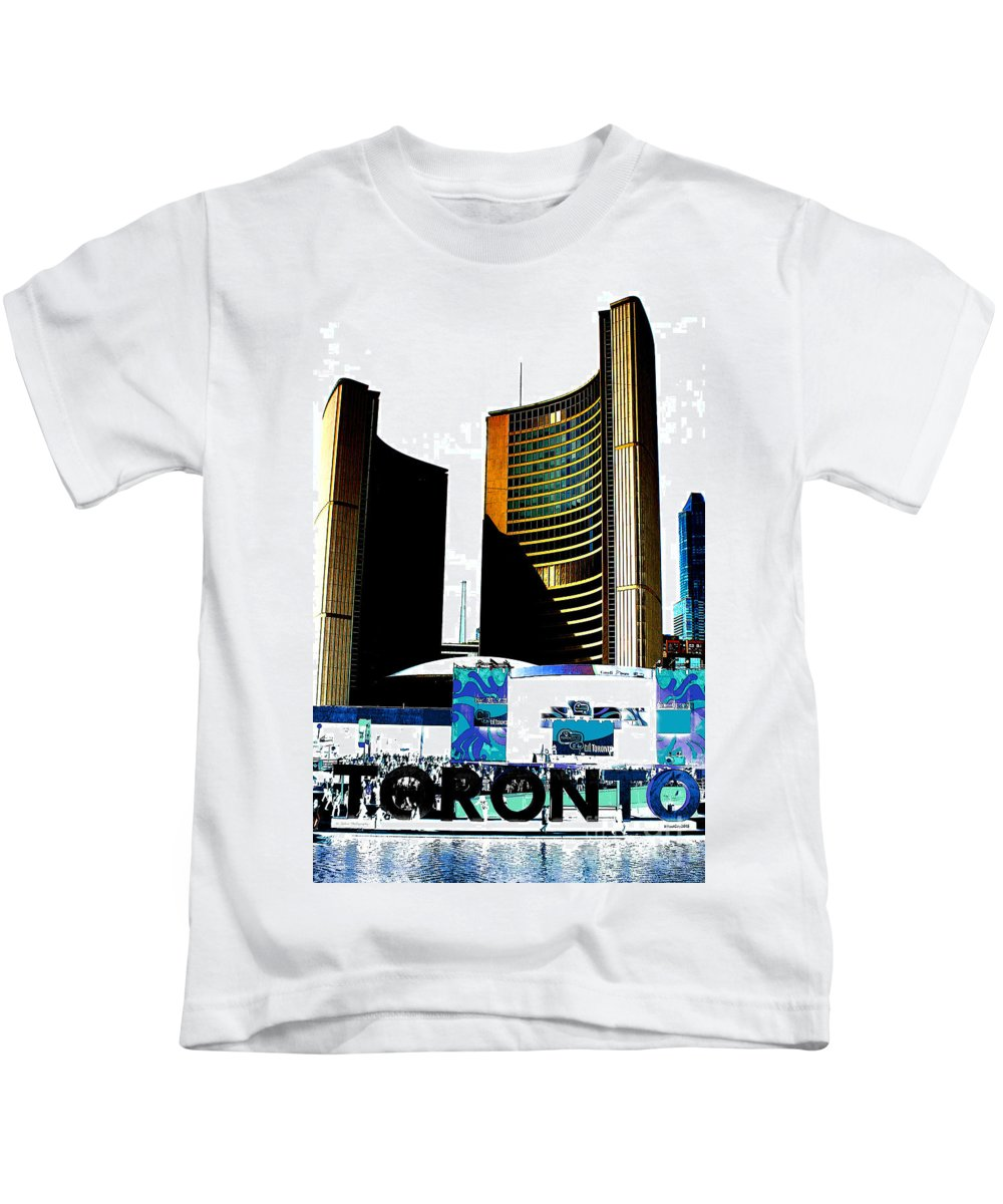 Toronto Kids T-Shirt featuring the photograph Toronto City Hall Graphic Poster by Nina Silver