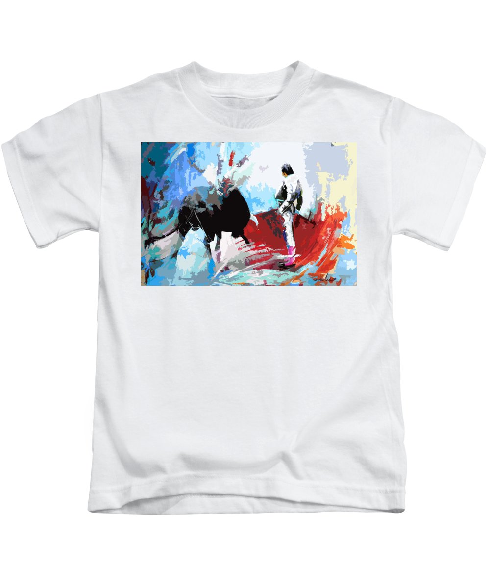 Animals Kids T-Shirt featuring the painting Toroscape 35 by Miki De Goodaboom