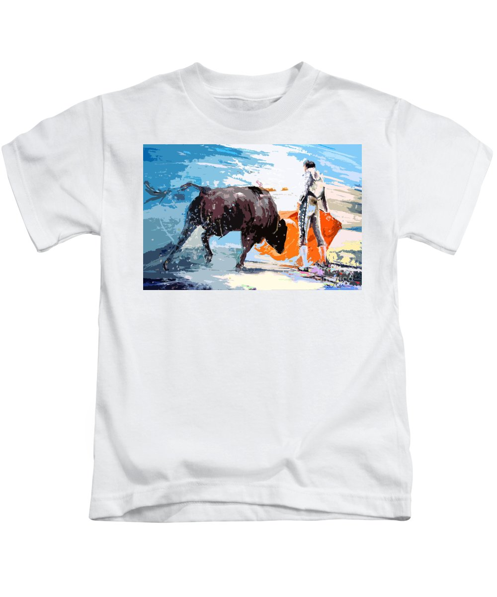 Bullfight Kids T-Shirt featuring the painting Toroscape 37 by Miki De Goodaboom