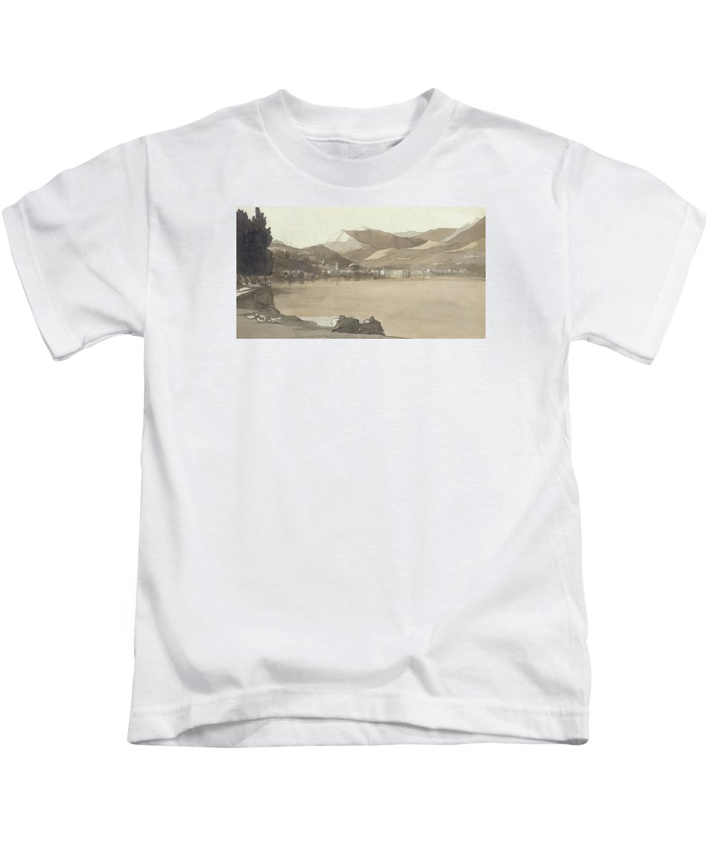 Town Kids T-Shirt featuring the painting Town Of Lugano, Switzerland, 1781 by Francis Towne