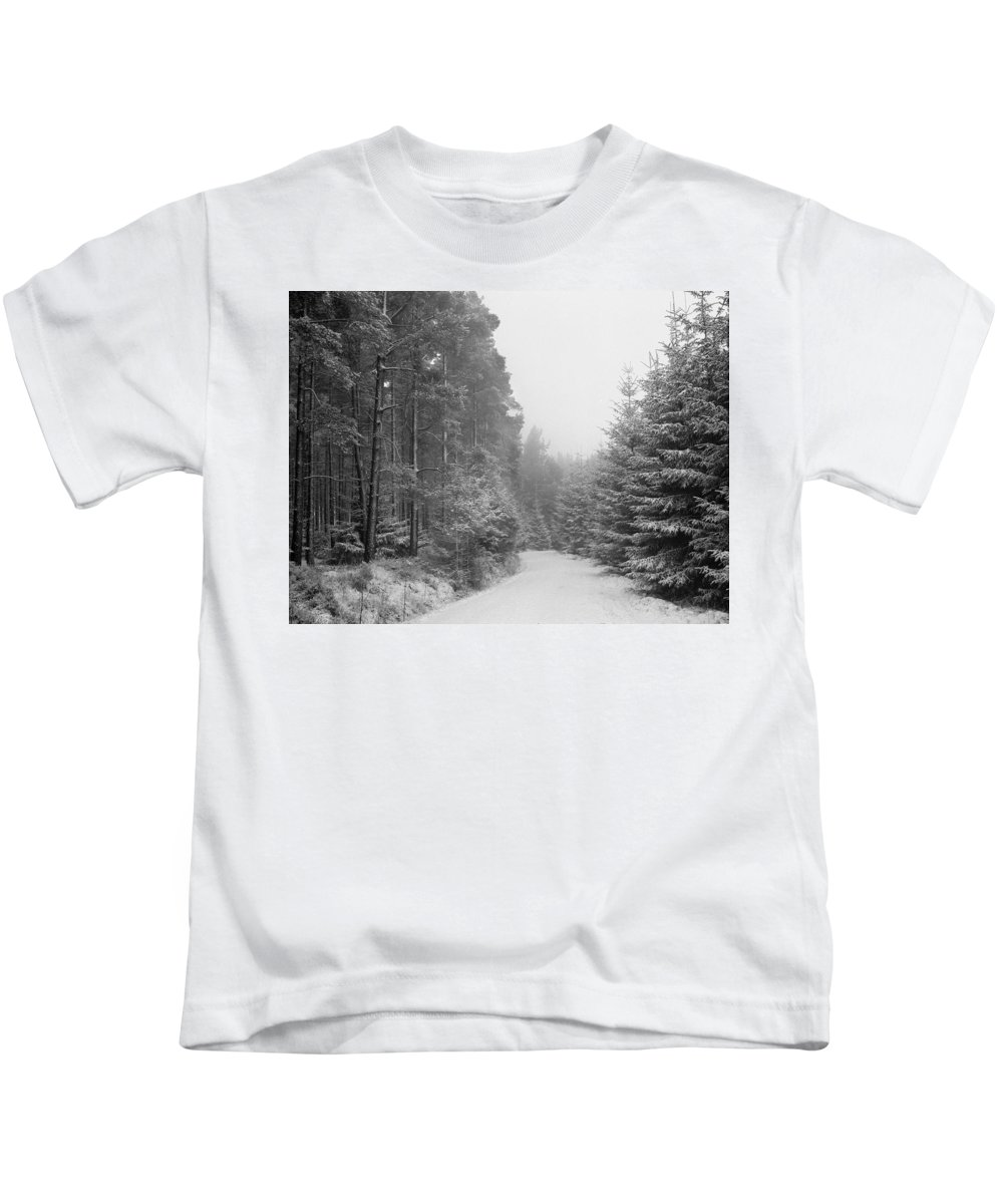 Kids T-Shirt featuring the photograph Track, Winter, Slaley Woods by Iain Duncan