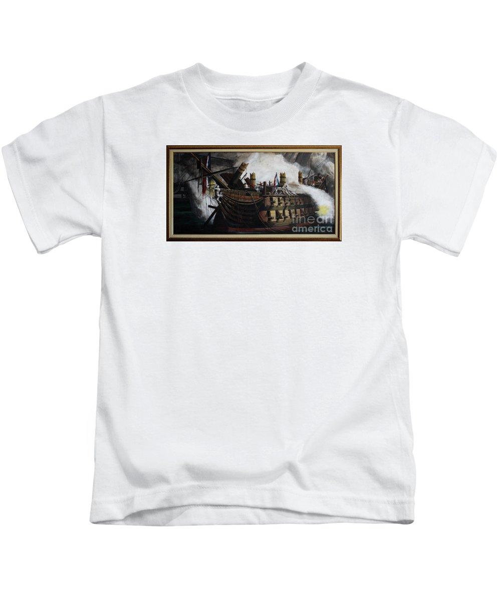Destruction Of The Bucentaure Kids T-Shirt featuring the painting Trafalgar - Destruction Of The Bucentaure 72 X 36 In 182 X 91 Cm by Richard John Holden RA