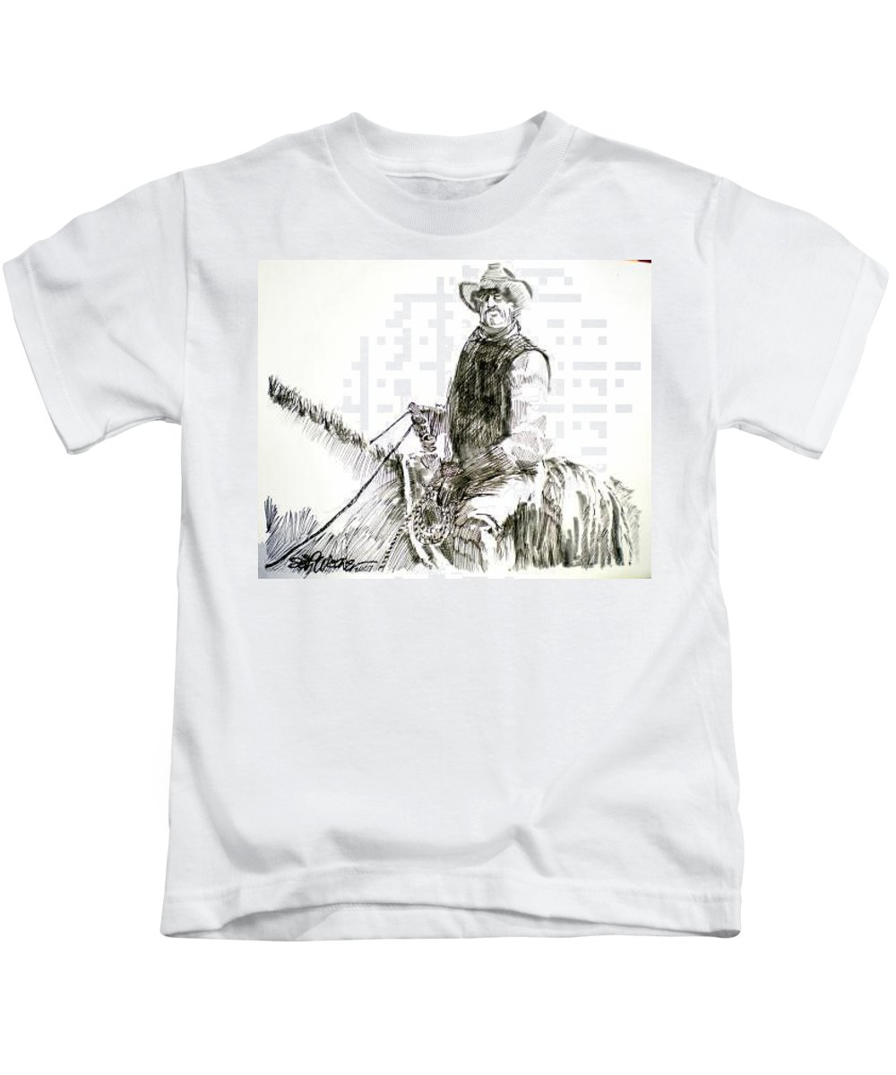 Trail Boss Kids T-Shirt featuring the drawing Trail Boss by Seth Weaver