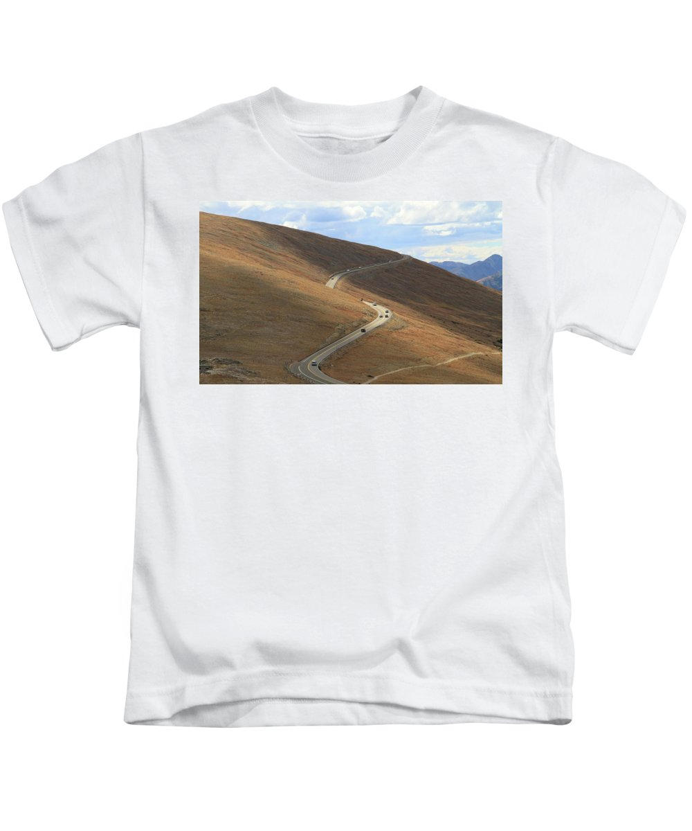 Trail Ridge Road Rocky Mountain National Park Kids T-Shirt featuring the photograph Trail Ridge Road Rocky Mountain National Park by Dan Sproul