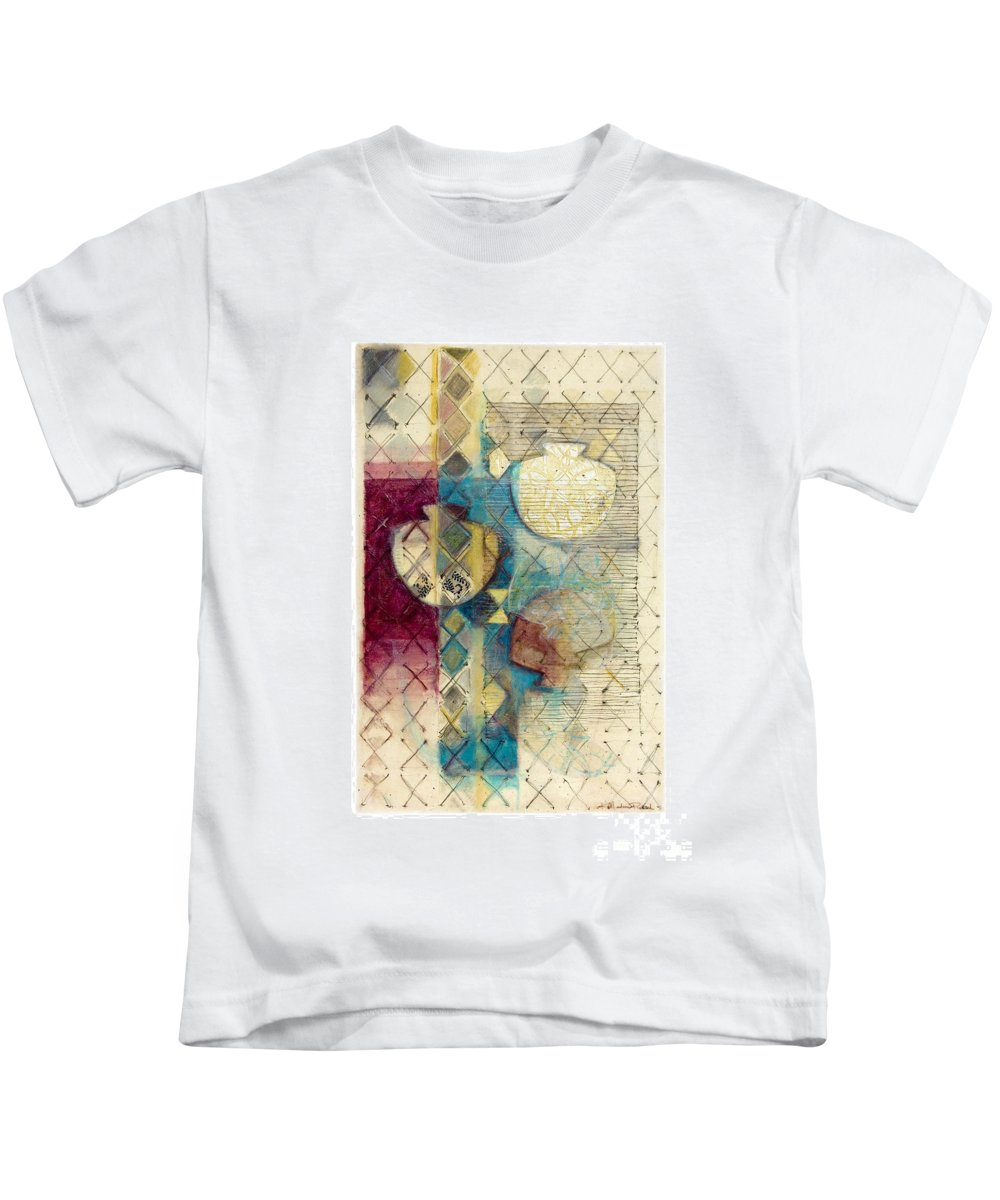 Mixed-media Kids T-Shirt featuring the painting Trans Xs No 1 by Kerryn Madsen- Pietsch