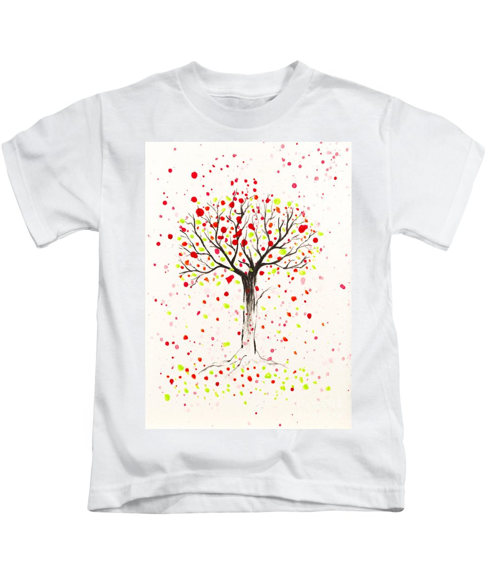 Tree Kids T-Shirt featuring the painting Tree Explosion by Stefanie Forck