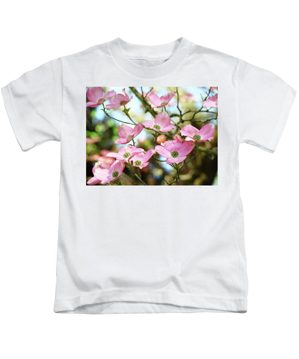 Nature Kids T-Shirt featuring the photograph Tree Landscape Pink Dogwood Flowers Baslee Troutman by Baslee Troutman