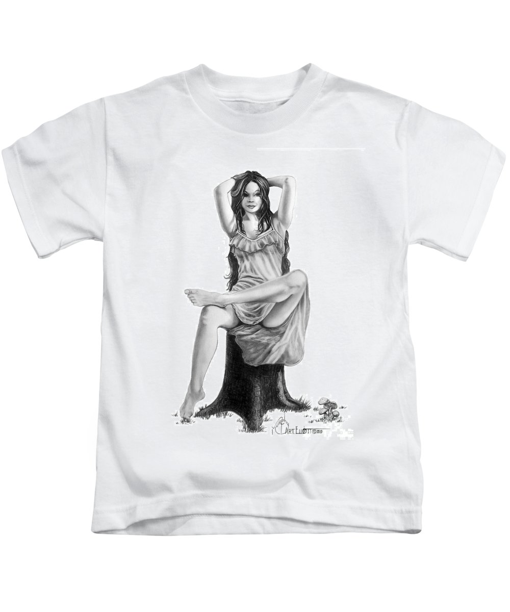 Figure Drawing Kids T-Shirt featuring the drawing Tree Nymph by Murphy Elliott