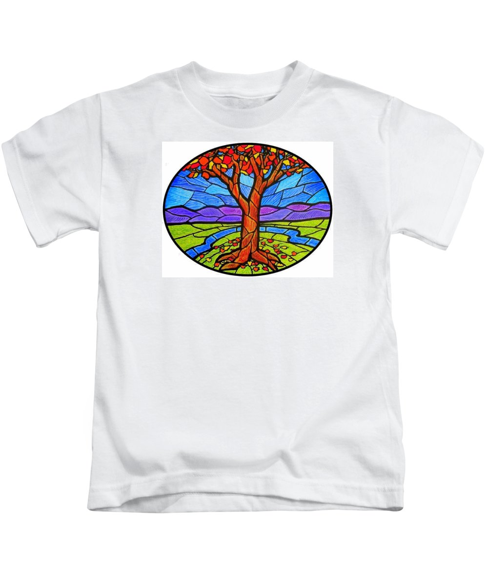 Tree Kids T-Shirt featuring the painting Tree Of Grace - Autumn by Jim Harris