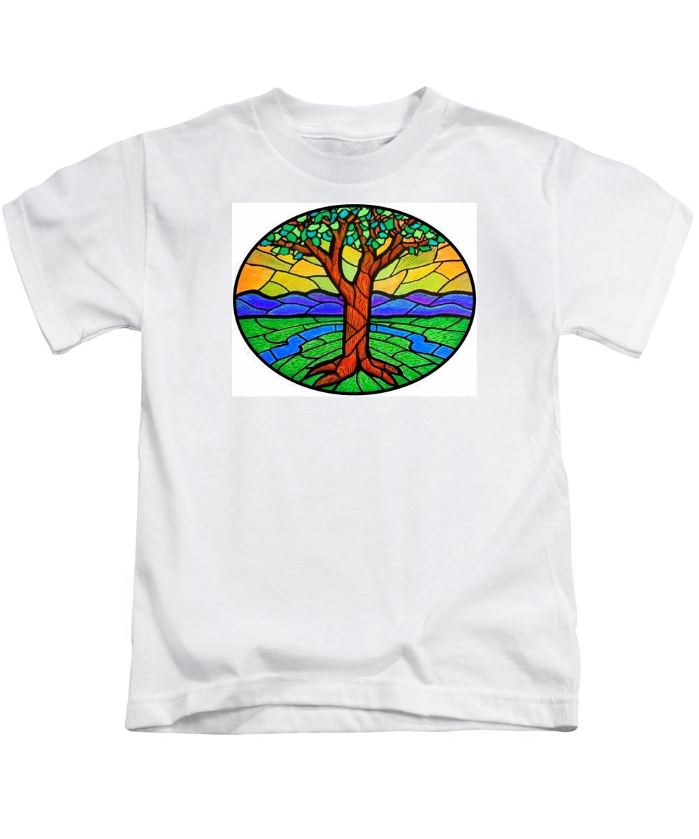 Tree Kids T-Shirt featuring the painting Tree Of Grace - Summer by Jim Harris