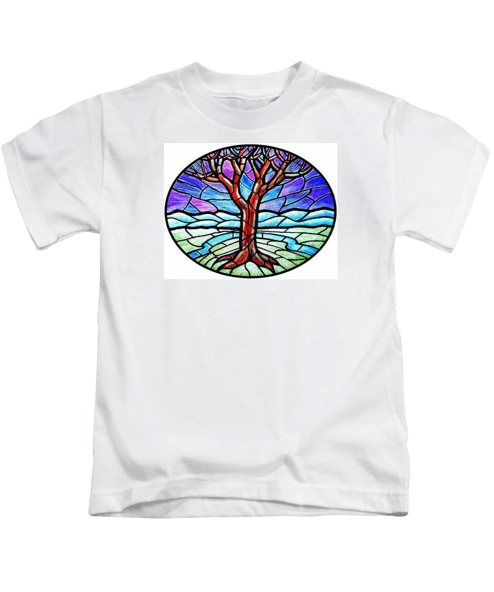 Tree Kids T-Shirt featuring the painting Tree Of Grace - Winter by Jim Harris