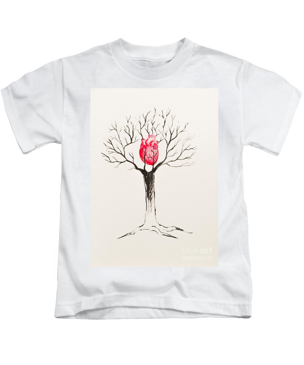 Tree Kids T-Shirt featuring the painting Tree Of Hearts by Stefanie Forck
