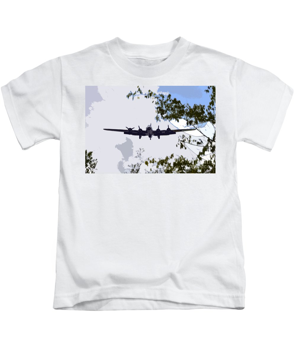 B 17 Kids T-Shirt featuring the photograph Tree Top Fly Er by David Lee Thompson