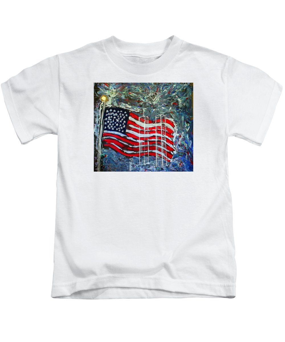 American Flag Kids T-Shirt featuring the mixed media Tribute by J R Seymour