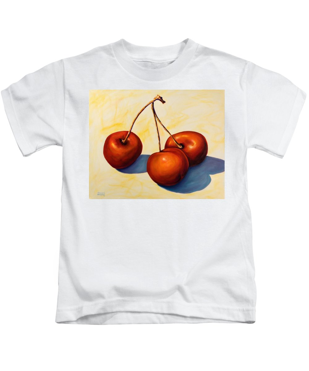 Cherries Kids T-Shirt featuring the painting Trilogy by Shannon Grissom