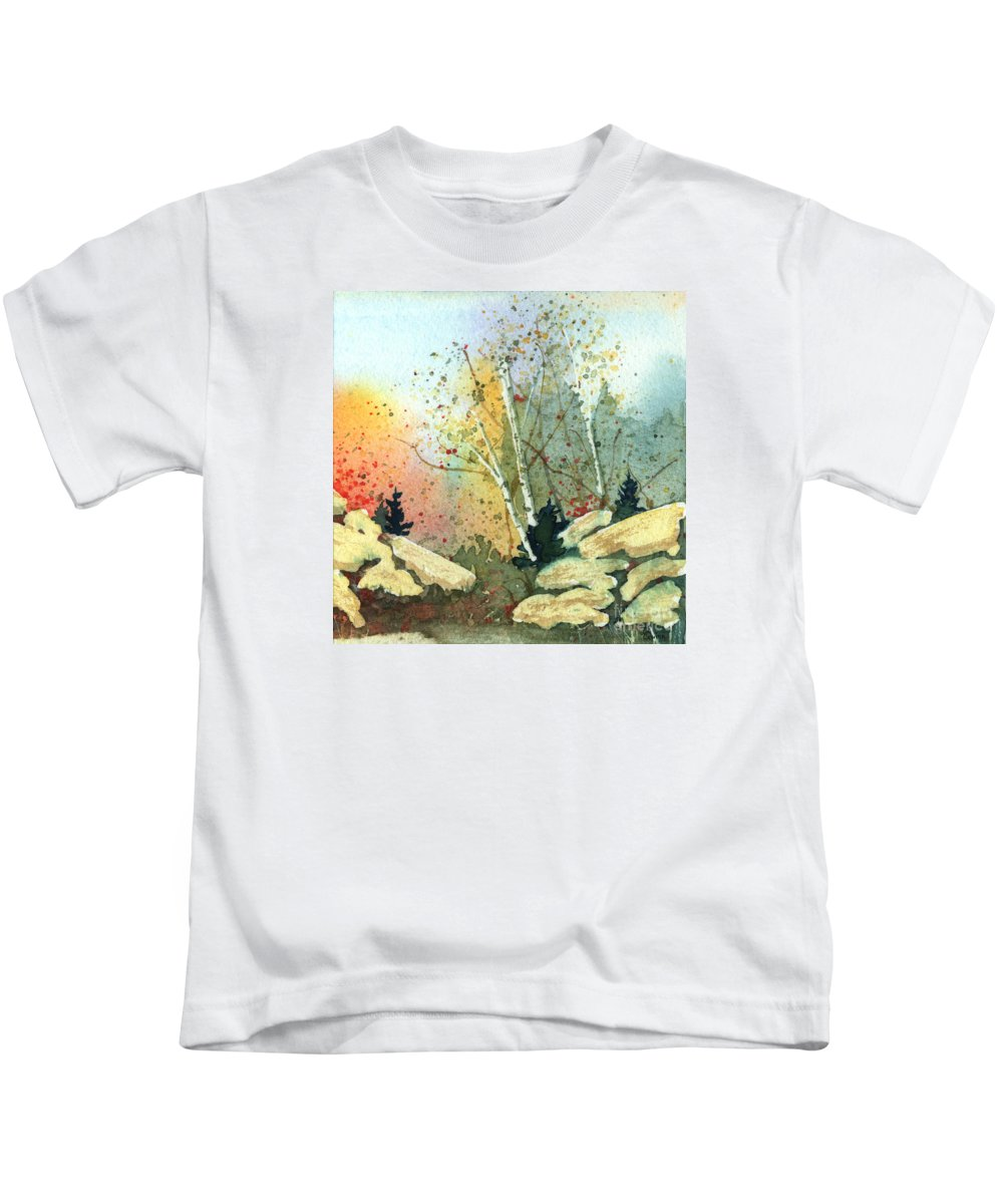 Landscape Kids T-Shirt featuring the painting Triptych Panel 3 by Lynn Quinn