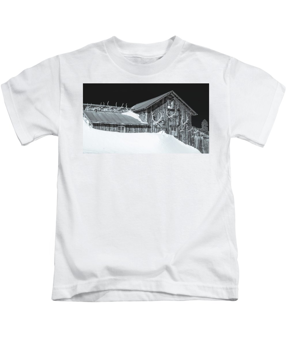 Historic Barns Kids T-Shirt featuring the photograph Trophies Mounted On Nostalgia, Selenium Tone by Bijan Pirnia